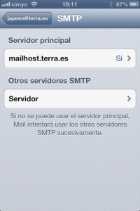8 Verificamos el nombre y datos del servidor de salida para poder enviar correos