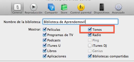 Activar Tonos en iTunes para su uso