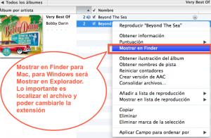 En Mac podemos elegir Finder para encontrar el archivo, pero en windows usar explorador