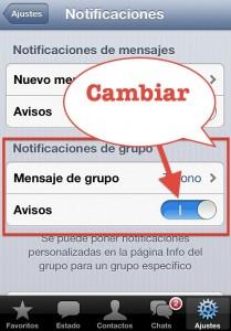 Mensajes Grupo iOS Whatsapp