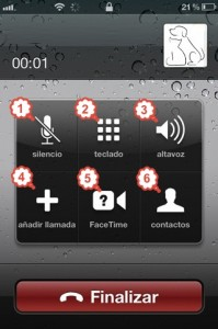 Opciones dentro de una llamada