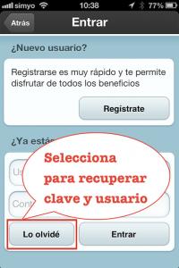 Paso 4 Selecciona para recuperar tu clave y usuario