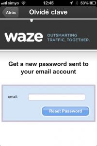 Paso 6 Introduce el email para recuperar las claves de acceso a Waze