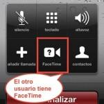 detalles de una llamada con FaceTime activado